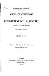 Nouvelles acquisitions du Département des Manuscrits pendant l'année