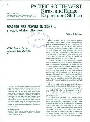 Roadside Fire Prevention Signs PDF