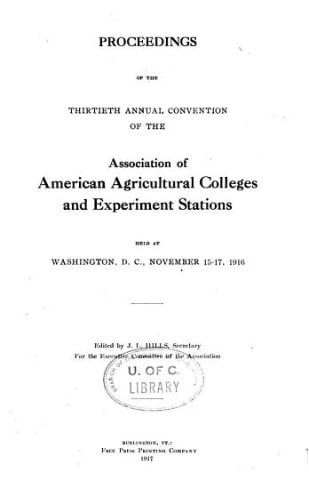 Proceedings of the     Annual Convention of the Association of American Agricultural Colleges   Experiment Stations PDF