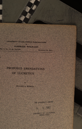 Proposed Emendations of Lucretius: Volume 2, Issues 1-16