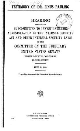 Testimony of Dr  Linus Pauling PDF