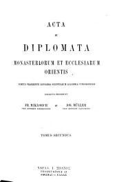 Acta et diplomata graeca medii aevi sacra et profana: Acta et diplomata monasteriorum et ecclesiarum orientis