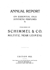 Annual Report on Essential Oils, Aromatic Chemicals and Related Materials