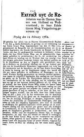 Advis van Gecommitteerde Raaden op de requeste van [...] Goedereede en [...] Westvoorne, om eenige gratien tot verlenging van hunne haaven [...]. 12 februari 1762