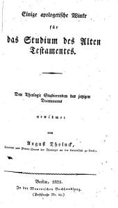 Einige apologetische Winke für das Studium des Alten Testamentes