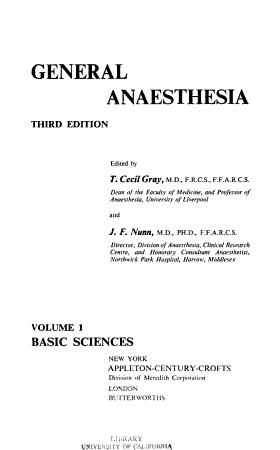General Anaesthesia  Basic sciences PDF