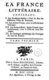 La France litteraire: Volume1761;Volume1769