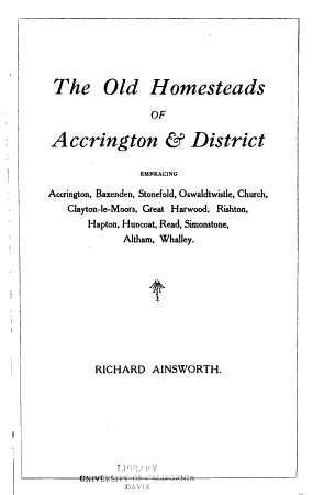 The Old Homesteads of Accrington and District PDF