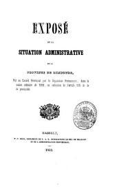 Vertoog van den bestuurlijken toestand der Provincie Limburg: voor het jaar ... 1852