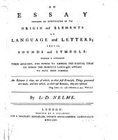 An Essay Towards an Investigation of the Origin and Elements of Language and Letters PDF