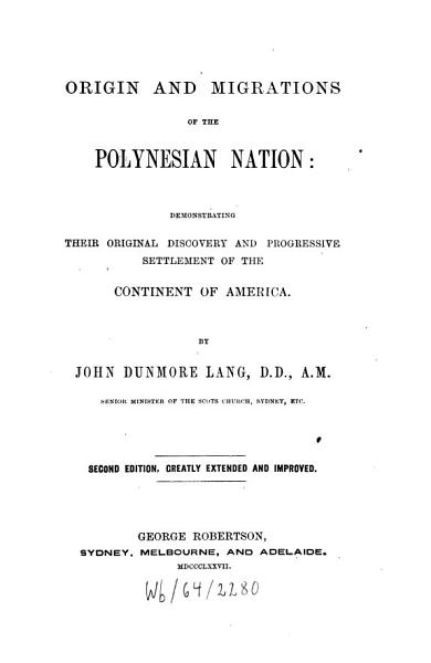 Download Origin and Migrations of the Polynesian Nation Book