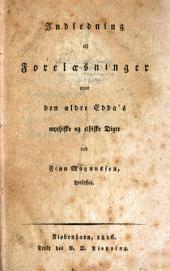 Indledning til forelæsninger over den ældre Edda's mythiske og ethiske digte
