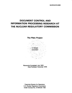 Document Control and Information Processing Research at the Nuclear Regulatory Commission PDF