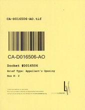 California. Court of Appeal (4th Appellate District). Division 1. Records and Briefs: D016506, Appellant's Opening