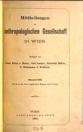 Mitteilungen der Anthropologischen Gesellschaft in Wien: MAG, Band 3
