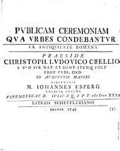 Publicam ceremoniam qua urbes condebantur: ex antiquitate Romana