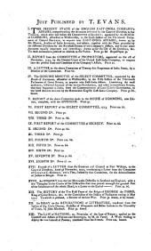 Seventh Report from the Committee of Secrecy Appointed by the House of Commons, Assembled at Westminster in the Sixth Session of the Thirteenth Parliament of Great Britain, to Enquire Into the State of the East India Company