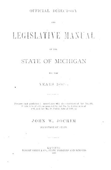 Official Directory and Legislative Manual of the State of Michigan for the Years     PDF