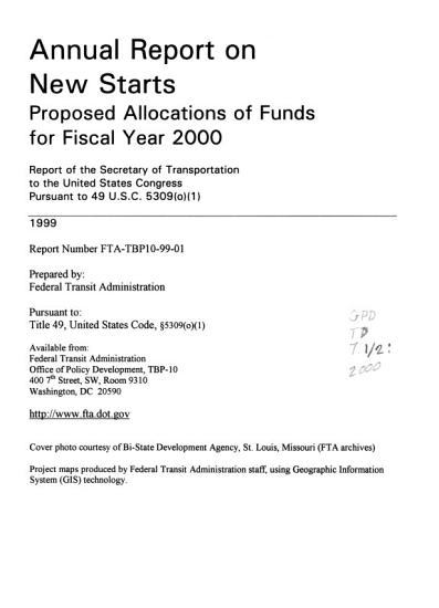 Annual Report on New Starts PDF