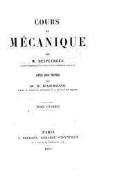 Cours de mécanique: Volume1