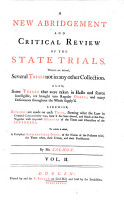 A Critical Review of the State Trials  A New Abridgement and Critical Review of the State Trials  etc PDF
