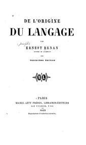 De l'origine du langage