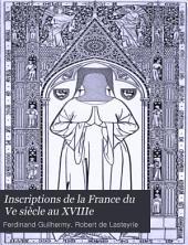 Inscriptions de la France du Ve siècle au XVIIIe: Numéro12,Volume5