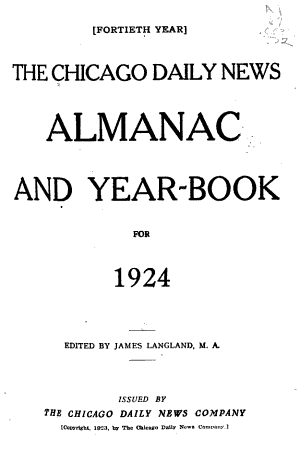The Chicago Daily News Almanac and Year Book for     PDF