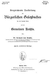 Vergleichende Darstellung des Bürgerlichen Gesetzbuches für das deutsche Reich und des gemeinen Rechts
