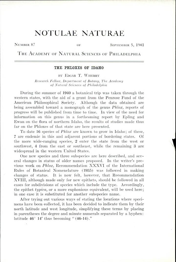Phloxes of Idaho: Notulae Naturae of The Academy of Natural Sciences of Phila., No. 87