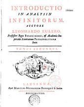 Introductio in analysin infinitorum, auctore Leonhardo Eulero...