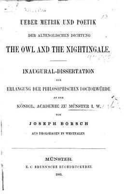 Ueber metrik und poetik der alt englischen dichtung The Owl and the Nightingale PDF
