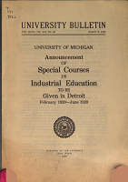 Announcement of Courses in Industrial Education to be Given in Detroit PDF