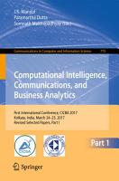 Computational Intelligence  Communications  and Business Analytics PDF