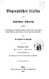 Biographisches Lexicon des Kaiserthums Österreich, enthaltend die Lebensskizzen der denkwürdigen Personen, welche 1750 bis 1850 im Kaiserstaate und in seinen Kronländern ... gelebt haben: Band 40