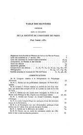 Bulletin de la Société de l'histoire de Paris et de l'Ile-de-France: Volumes9à10