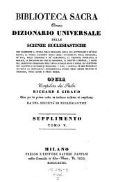 Biblioteca sacra ovvero Dizionario universale delle scienze ecclesiastiche... per la prima volta ... tradotta ed ampliata da una societa di ecclesiastici: Volume 26