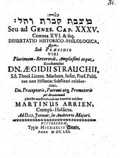 Maṣṣāvat qivrat Rāḥēl seu ad Genes. Cap. XXXV. comma XVI. et seq. dissertatio historico-philologica