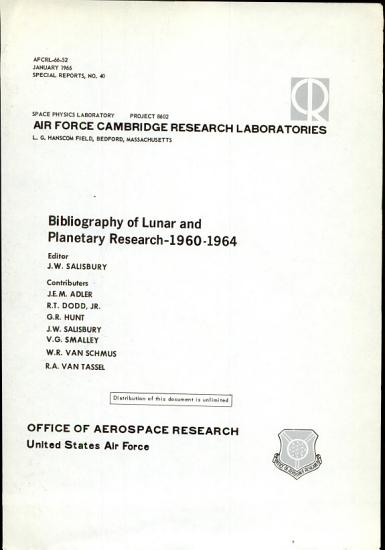 Bibliography of Lunar and Planetary Research 1960 1964 PDF