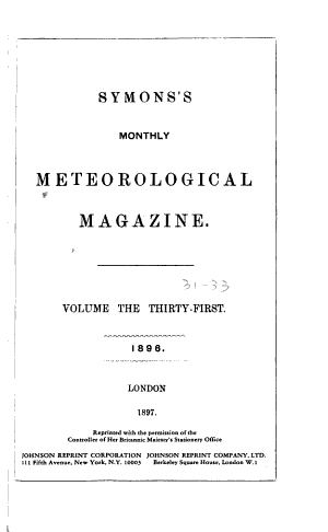 Symons's Monthly Meteorological Magazine