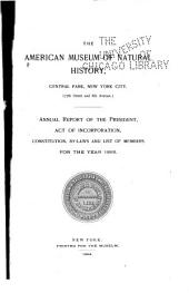 Annual Report of the American Museum of Natural History: Volumes 25-27