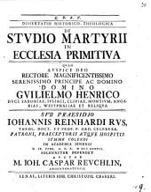 Diss. hist.-¬theol. de studio martyrii in ecclesia primitiva
