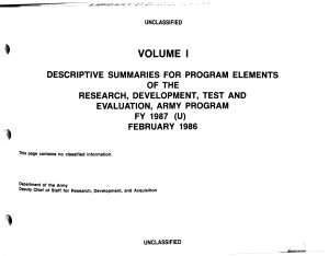 Descriptive Summaries for Program Elements of the Research  Development  Test and Evaluation  Army Program FY      U   PDF