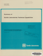 Summary of Sandia Laboratories Technical Capabilities