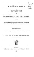 Tr  bner s Catalogue of Dictionaries and Grammars of the Principal Languages and Dialects of the World PDF