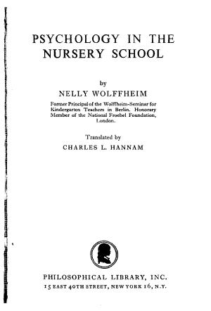 Psychology in the Nursery School