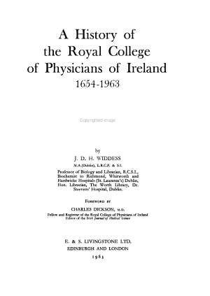 A History of the Royal College of Physicians of Ireland, 1654-1963