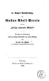 """Dr. Rupp's Ausschliessung, der Gustav-Adolf-Verein und das """"heilige neutrale Gebiet."""""""