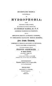 Dissertatio medica inauguralis, de hydrophobia, etc