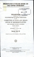 Implementation of Welfare Reform and Child Support Enforcement PDF